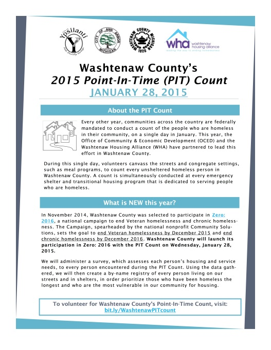 Washtenaw Housing Alliance Point in Time Count